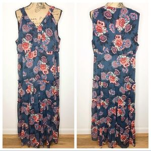 Style & Co 2X Blue Floral Sleeveless Maxi Dress